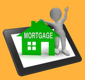 Mortgage House Tablet Shows Paying Off Property Debt Stock Photography