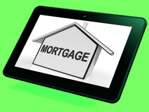 Mortgage House Tablet Shows Property Loans And Repayments Stock Image
