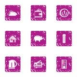 Mortgage icons set, grunge style. Mortgage icons set. Grunge set of 9 mortgage vector icons for web isolated on white background Stock Photography