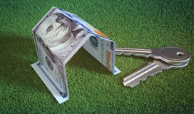 Mortgage, investment, real estate and property concept. Dollar m. Oney and house keys Royalty Free Stock Image