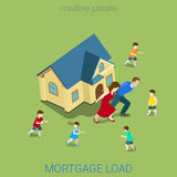 Mortgage load loan burden family house flat 3d vector isometric. Flat 3d isometric style mortgage load loan burden financial business concept web infographics Royalty Free Stock Photo