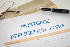 Mortgage loan application. Mortgage loan agreement application form on desk. top view. view from above Stock Photo