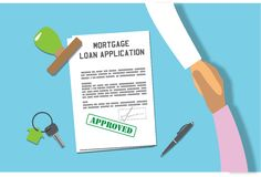 Mortgage loan application approved. Moment of receiving a signed loan documents approved with stamp, key with pendant in house shape symbolises new home Royalty Free Stock Photography