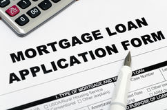 Mortgage Loan Application Form. And pen Royalty Free Stock Photography