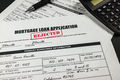 Mortgage Loan Application Rejected 010 Stock Photo