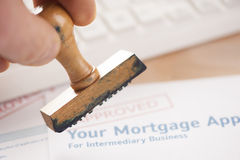 Mortgage loan. Application with rubber stamp royalty free stock photography