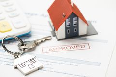 Mortgage loan. Approved mortgage loan agreement application stock photos