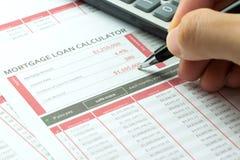 Mortgage loan balance sheet Stock Photo