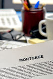 Mortgage Loan Contract Document on Lender Desk Stock Photos