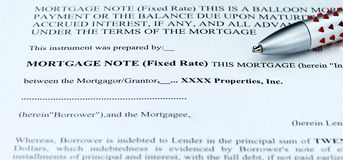 Mortgage Note Stock Photo