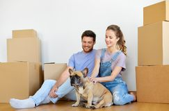 Happy couple with boxes and dog moving to new home Stock Image