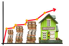 Mortgage price chart. Real estate price growth. Sale of houses. Concept of mortgage. Mortgage price chart. Real estate price growth. Sale of houses. Concept of Stock Photos