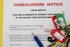 Mortgage on a property. Foreclosed notice on a loan mortgage on a property Stock Photography