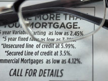 Mortgage rates ad in a newspaper Royalty Free Stock Images