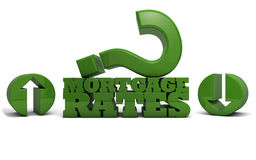 Mortgage Rates - Up or Down. The words Mortgage Rates rendered in 3D with a large question mark and up/down arrows Royalty Free Illustration