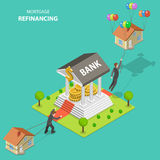Mortgage refinancing isometric flat vector illustration. Stock Images