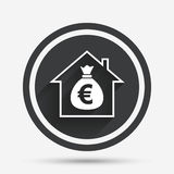 Mortgage sign icon. Real estate symbol. Bank loans. Circle flat button with shadow and border. Vector Stock Image