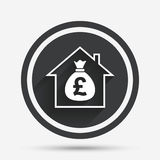 Mortgage sign icon. Real estate symbol. Bank loans. Circle flat button with shadow and border. Vector Stock Images