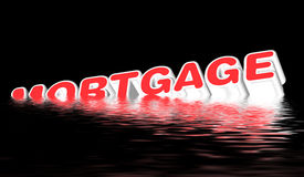 Mortgage sinking,. 3-D mortgage sign sinking, on black Royalty Free Stock Photography