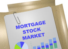 Mortgage Stock Market concept. 3D illustration of MORTGAGE STOCK MARKET title on business document Stock Images