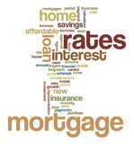 Mortgage Word Tag Cloud Illustration. Word Cloud / Tag Cloud graphic design illustration on the concept of mortgages for home buyers / owners Royalty Free Stock Photo