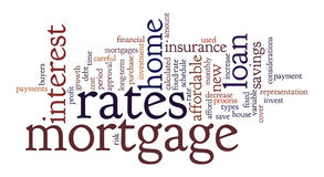 Mortgage Word Tag Cloud Illustration. Word Cloud / Tag Cloud graphic design illustration on the concept of mortgages for home buyers / owners Stock Photography