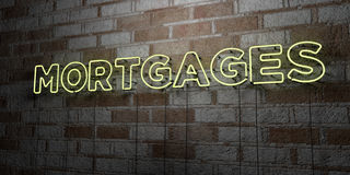 MORTGAGES - Glowing Neon Sign on stonework wall - 3D rendered royalty free stock illustration