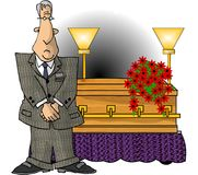 Mortician. This illustration that I created depicts a man standing in front of a casket Stock Photo