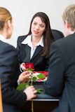 Mortician with client comforting and advising Royalty Free Stock Photos