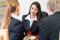 Mortician with client comforting and advising Stock Photos