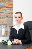 Mortician in her store. Undertaker for the funeral is giving solace in the funeral parlor Stock Images