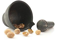 Mortier avec le pilon et la noix de muscade Photo libre de droits