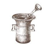 mortier Croquis noir et blanc Image libre de droits
