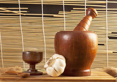 Mortier en bois fabriqué à la main Photographie stock
