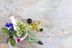 Mortier en céramique avec des herbes et des plantes médicinales fraîches sur le vieux tboard en bois blanc Préparer les plantes m photos stock
