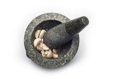 Mortier en pierre sur le fond blanc Images libres de droits