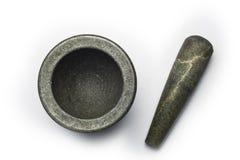 Mortier en pierre sur le fond blanc Images stock