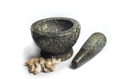 Mortier en pierre sur le fond blanc Image libre de droits