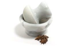 Mortier et badyan de marbre Photographie stock libre de droits
