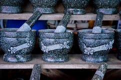 Mortier et pilon de granit Photos libres de droits