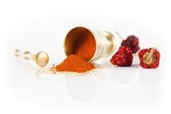 Mortier et poivre d'un rouge ardent Photos stock