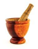 Mortier gemaakt ââof hout Stock Afbeeldingen