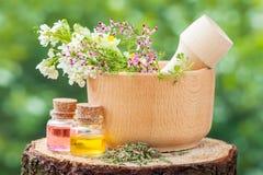 Mortier rustique avec des herbes et des bouteilles avec l'huile essentielle images libres de droits