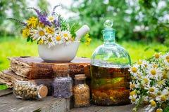 Mortier van het helen van kruiden, flessen van gezonde etherische olie of infusie en droge geneeskrachtige kruiden, oude boeken royalty-vrije stock fotografie