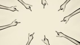 Mortifiant en dirigeant des doigts illustration libre de droits