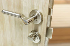 Mortise lock set for door on laminate wood door Royalty Free Stock Photo