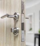 Mortise lock set for door on laminate wood door Royalty Free Stock Images
