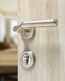 Mortise lock set for door on laminate wood door Royalty Free Stock Photography