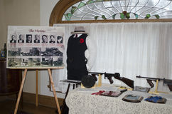 St valentines day massacre tommy guns. Morton house, in Berrien county Michigan, hosted a display about the st valentines day massacre, that took place in royalty free stock image