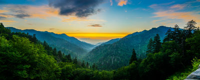 Mortons Overloo, Great Smoky Mountains. Summer sunset over the Great Smoky Mountains from Mortons Overlook along US 441 Royalty Free Stock Photography